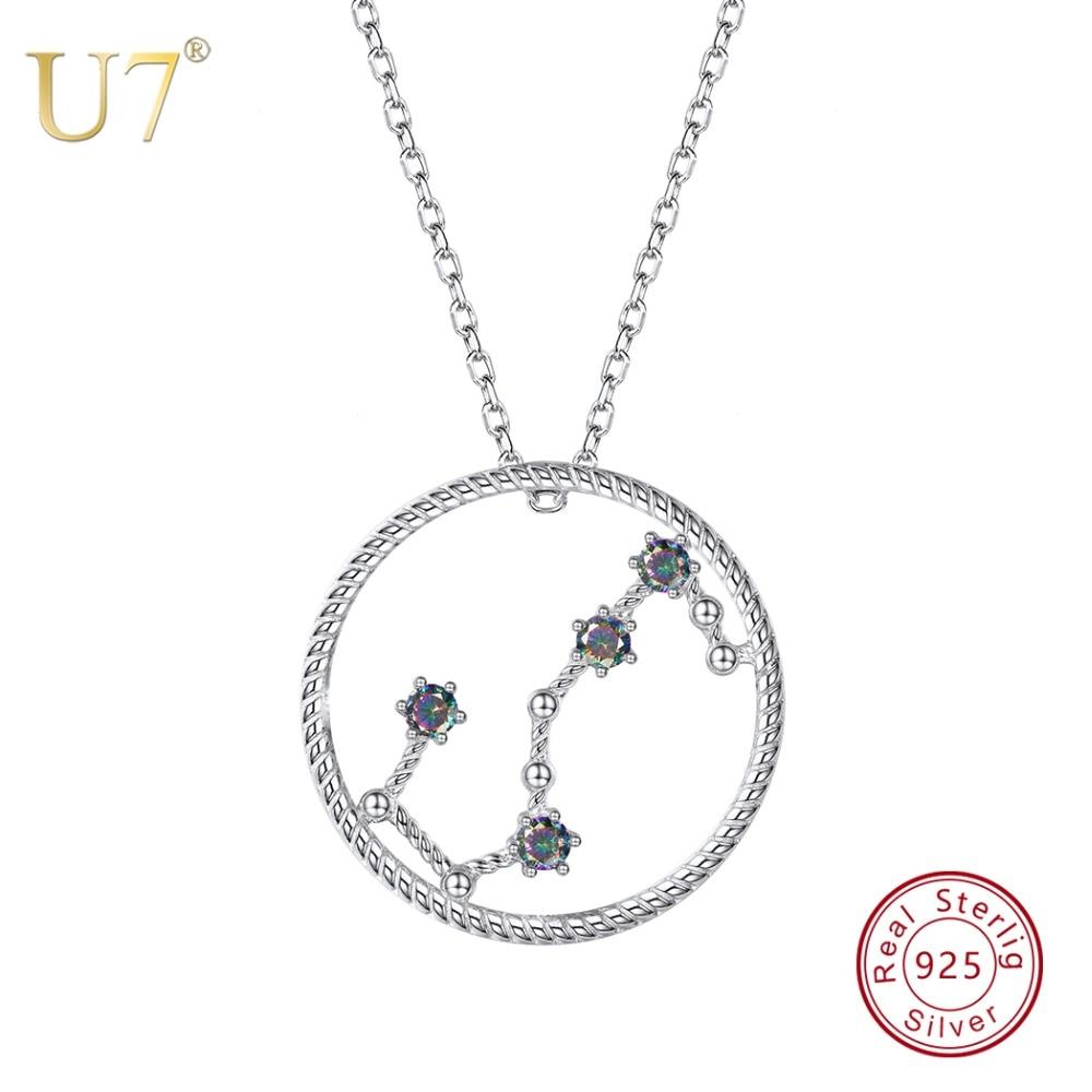 U7 925 Sterling Silver Scorpio Zodiac Necklaces & Pendants Constellation Jewelry Accessories For Men/Women Birthday Gift SC78 цена
