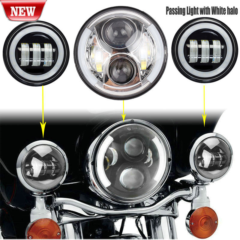 7'' White Halo Eyes LED Silver Headlight & Passing Fog Light for Harley Davidson