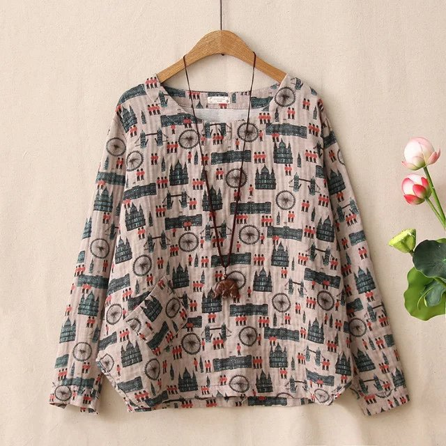 a38f1177 National Wind Retro Original Theatrical Cartoon Printed Long sleeved T shirt  Irregular Casual Loose Shirt Female-in Tops from Novelty & Special Use