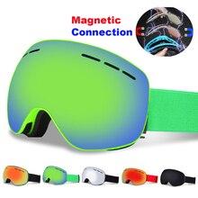 Spherical Magnetic Ski Goggles Anti fog Double Layers UV400 Big Ski Mask Snowboard Goggles Professional Skiing