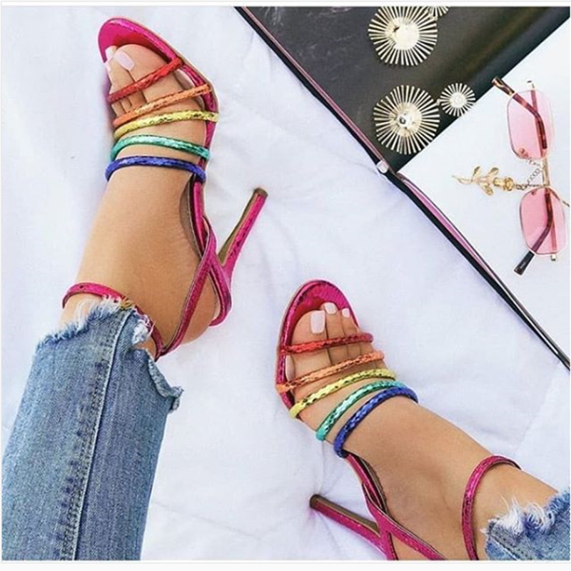 Roman Sandals Femme Handmade Colorful High Heels Women Summer Shoes Party Wedding For Sapatos Mujer