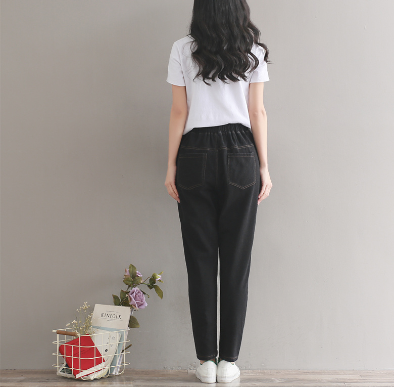 Denim Trousers Mori Waist Baggy Harajuku Casual Cotton Spring Harem Loose Knitted Women Pants Patchwork Jeans Black Elastic Boho qHxPtX06X