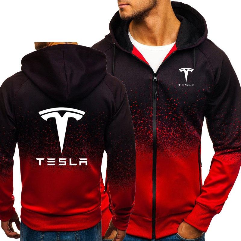 Fleece Sweatshirts Jacket Hooded Tesla Harajuku Clothing Hiphop Zipper Print Gradient-Color
