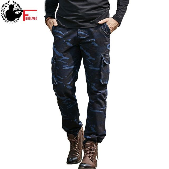 c11e704d9250ec Mens Pants High Quality Camouflage Jogger Military Style Clothing Cargo  Pants Navy Blue Multi Pocket Camo