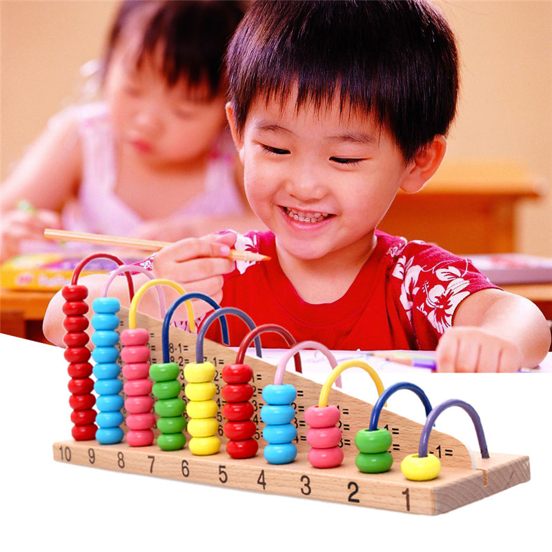 Kids Wooden Toys Child Abacus Counting Beads Maths Learning Educational Toy Math Toys Gift  1 set  montessori educational toy bohs kids child wooden multicolour mathematics math domino blocks early learning toy sets 1set 110pcs 1pc storage bag