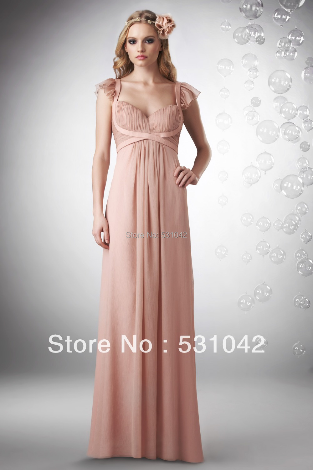 Online shop sweetheart cap sleeve pleated ruffles chiffon full online shop sweetheart cap sleeve pleated ruffles chiffon full length long blush bridesmaid dresses cheap wholesale guest gown ty590 aliexpress mobile ombrellifo Choice Image