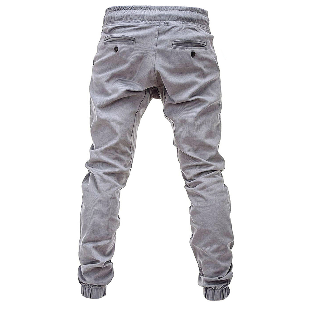 Men Sweatpants Slacks Casual Elastic Joggings Sport Solid Baggy Pockets Trousers 4.12
