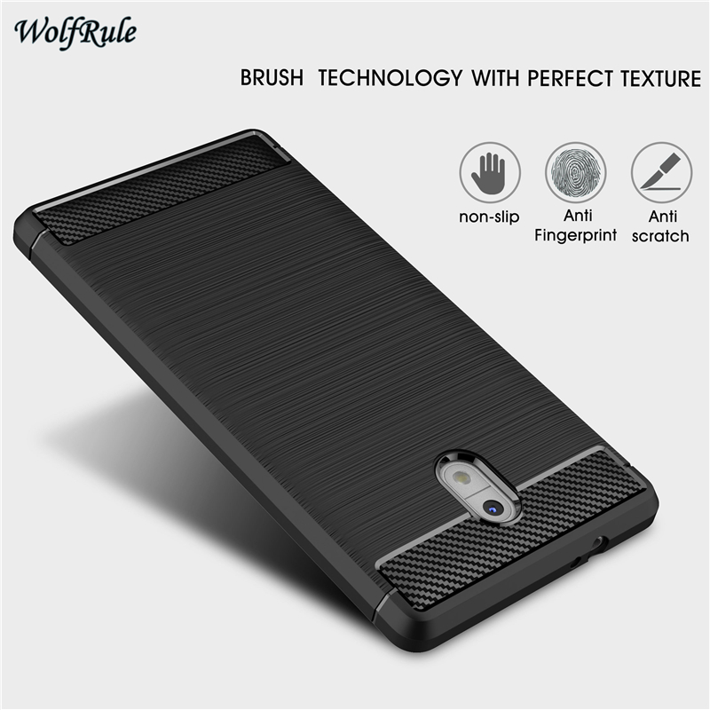 sFor Cell Phone Case Nokia 3 Cover Shockproof TPU Brushed Style Cases For Nokia 3 Case For nokia3 Mobile Funda Coque WolfRule