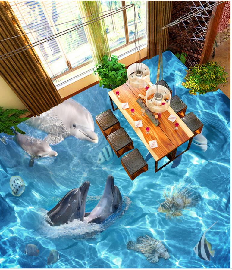 Ocean Dolphin 3D Wallpaper 3d Floor Murals PVC For Living Room Home Decoration