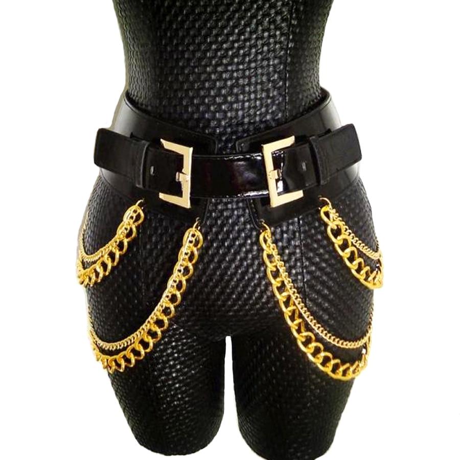 Європа перебільшення мода нічний клуб китиця талії ланцюжки ремені металева пряжка широкий пояс особистість аксесуари шкіряні ремені