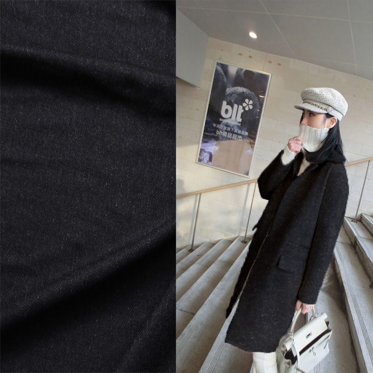 Black Sheets Wool Fabrics Fall Winter Fabrics Coat Dresses Trousers Clothing Fabrics