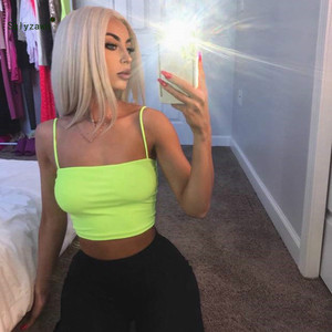 Image 2 - Sexy Fluorescent Green Pink Spaghtetti Strap Crop Tops Summer Harajuku Solid Slash Neck Camis Women Neon Streetwear Mujer