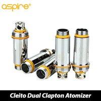 5 sztuk oryginalny aspire cleito podwójny cewki clapton 0.2ohm 0.4ohm/0.27ohm cleito atomzier szef zamiennik głowice rozpylające