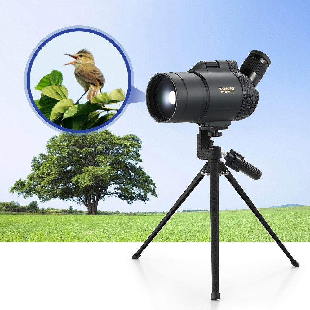 Visionking Spotting Scope Telescope Waterproof Birdwatch Hunting Bak4 Prism Monocular with Tripod Carry Case for Travel 25-75x70Visionking Spotting Scope Telescope Waterproof Birdwatch Hunting Bak4 Prism Monocular with Tripod Carry Case for Travel 25-75x70