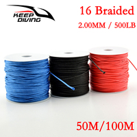 50M/100M 16 Braided Fishing Line 16 strand 2.00MM/500LB Strong Multifilament Fiber Fishing Line for Carp Fishing Wire Rope Cord