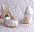 Wedopus MW643 Custom Handmade Platform Wedding Shoes White Closed Toe Satin Pumps Dropship