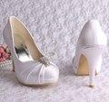 Wedopus MW643 Personalizado Artesanal Casamento Sapatos Brancos Sapatos de Plataforma Fechada Toe de Cetim Bombas Dropship