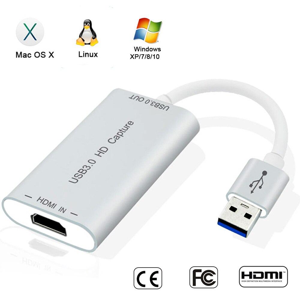 Prise vidéo HDMI avec connecteur de boîtier de carte de Capture sans lecteur USB3.0/2.0 Dongle 1080 P 60FPS pour système Os X Windows Linux