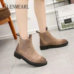 Women Boots Genuine Leather Winter Shoes Platform Ankle Boots Woman Casual Shoes Leather Warm Chelsea Boots Black Plus Size DE