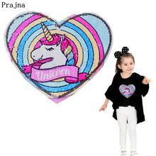 Prajna Unicorn Patch Reversible Change Color Cartoon Sequin Patches For Clothing Jeans DIY Magic Rainbow On Kids Clothes
