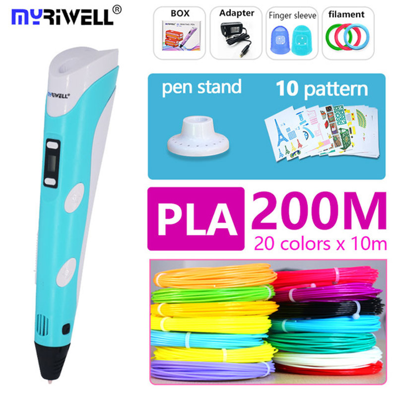 Myriwell 3d Pen 3 D Pen Include PLA 200m 3d Printer Pen The Kids Drawing Tool Magic Pen The Best Gift Christmas Presents(China)