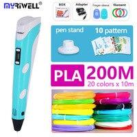 Myriwell 3d Ручка 3 d ручка включает PLA 200 m 3d принтер ручка детский инструмент для рисования волшебная ручка лучший подарок рождественские подарки