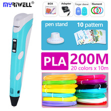 myriwell 3d pen 3 d pen include PLA 200m 3d printer pen the kids Drawing Tool magic pen the best gift Christmas presents myriwell 3d pen rp 100b with pla abs filament 200m 3d printer pen 3 d pen free fingersleeve drawing tool the best child gift