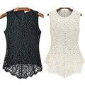 Женская Мода Рукавов Вышивка Блузка Повседневная О-Образным Вырезом Кружева Крючком Топ