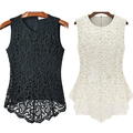 Women's Fashion Sleeveless Embroidery Blouse Casual O-neck Lace Crochet Top