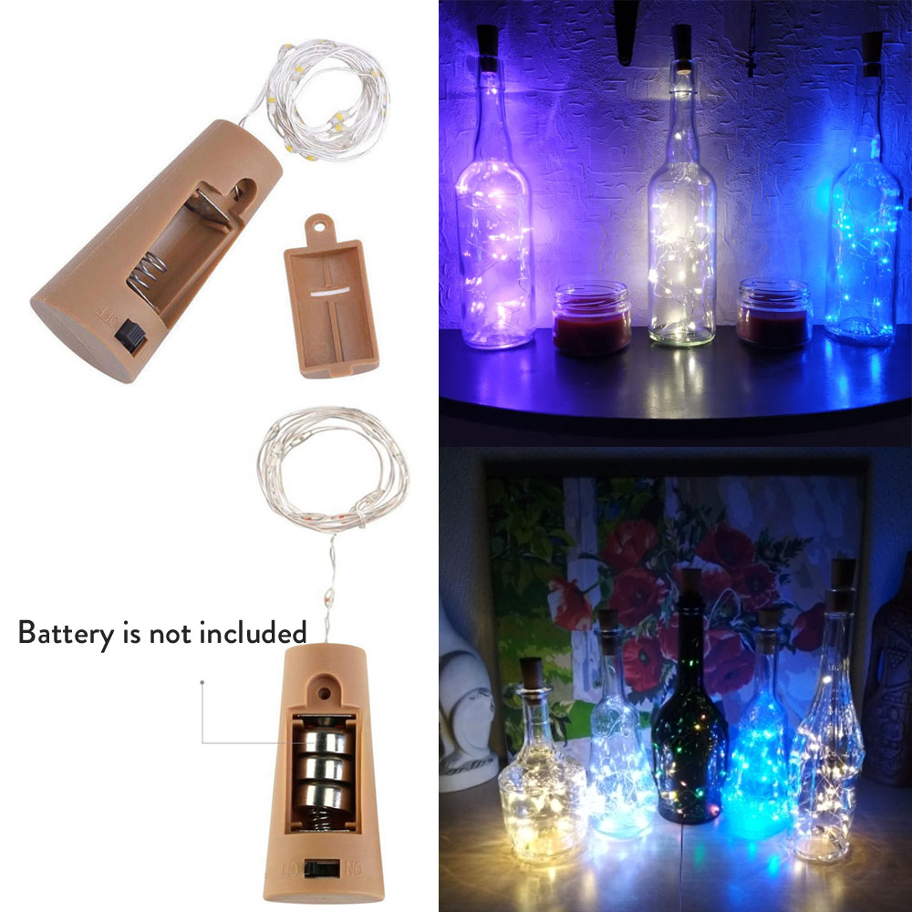 10PCS/Lot 2M 20Leds Christmas Lights LED Bottle Bottle Stopper Wire Fairy String Lights Holiday Wedding Party Decoration Strips