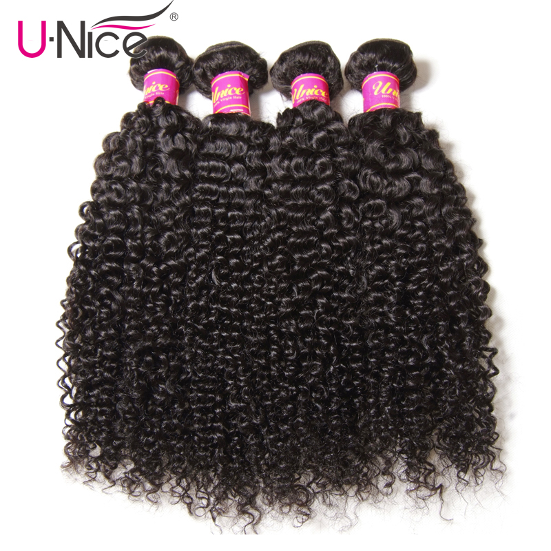 Unice Hair Brazilian Hair Weave Bundles 100% Curly Weave Human Hair 4 Bundles Natural Color Remy Hair Extension 8-26inch