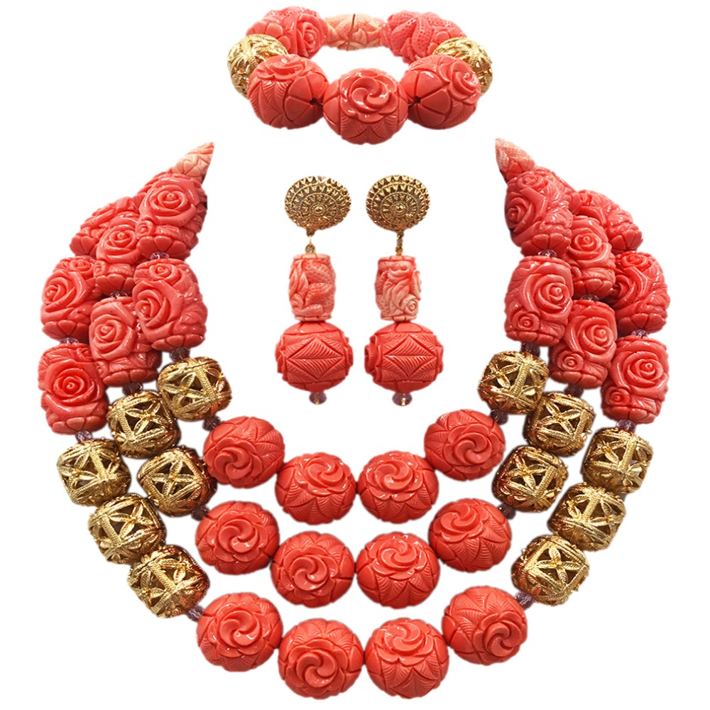 Gorgeous Pink Artificial Coral Beaded African Jewelry Set Necklace Set Nigerian Wedding Bridal Jewelry Sets for Brides ACB-29 latest yellow and gold beaded artificial coral nigerian wedding african beads jewelry set acb 11