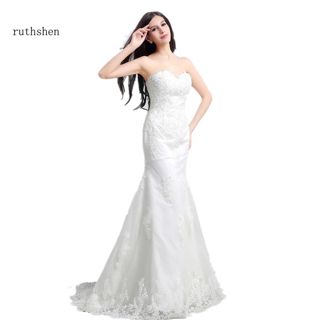 Ruthshen Ready To Ship Wedding Dresses With Sweetheart Lace Liques Beads Sweep Train Under 100