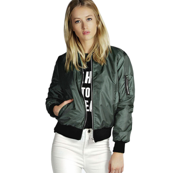 Spring Thin Jackets Women 2019 Basic Solid Stand Collar Bomber Jacket Women Autumn Casual Long Sleev