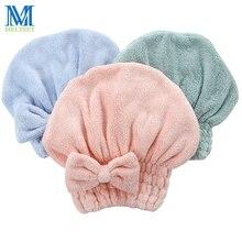 1 шт., утолщенная Хлопковая шапочка для душа для женщин, красивая банная шапка с бантом, Банные сауны, спа покрытие для волос, скоростная сухая шапочка для купания