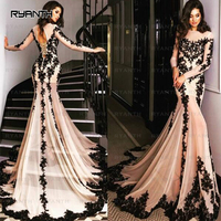 NP5 Vestido De Festa 2017 Robe De Soiree Sexy Black Lace Long Sleeve Mermaid Prom Dresses