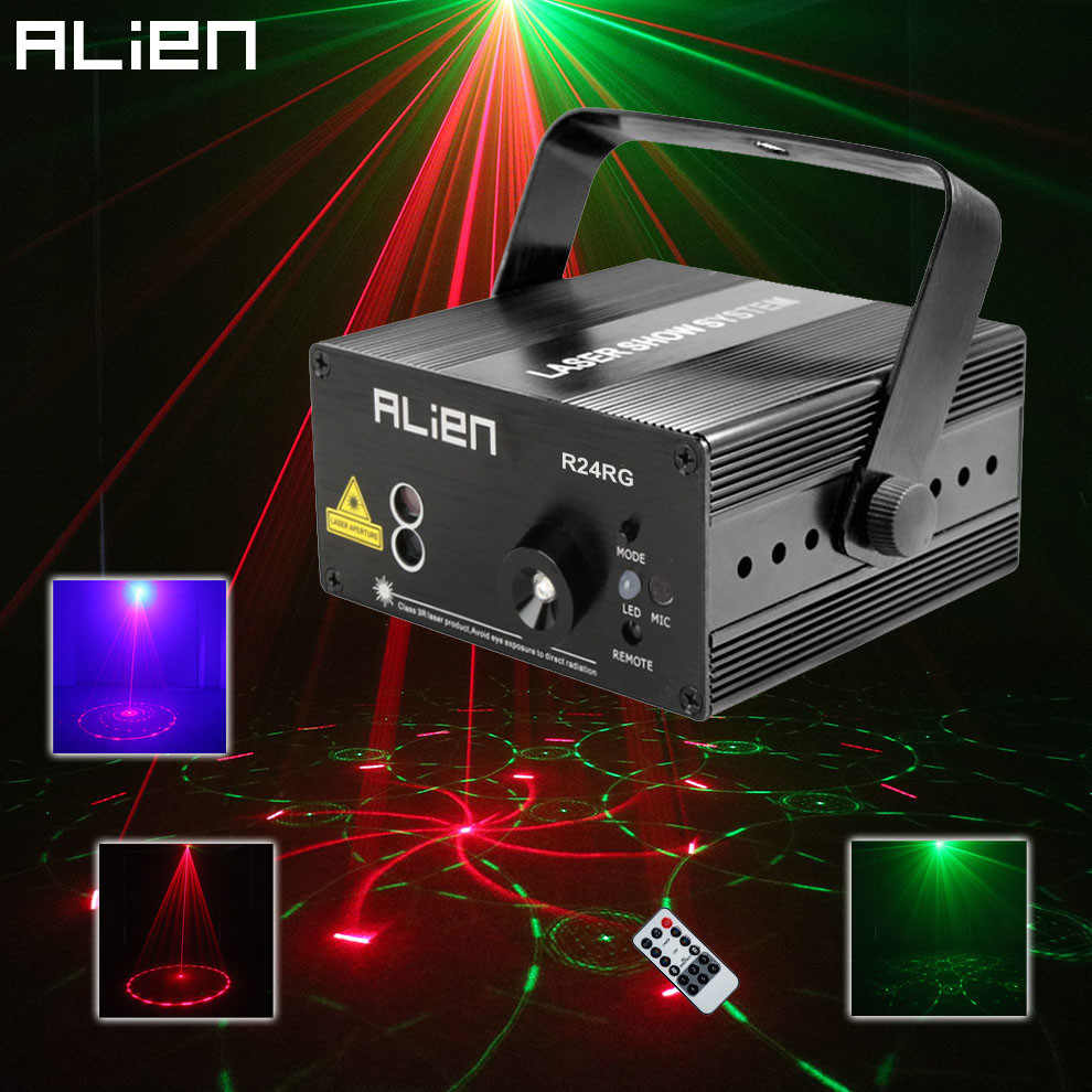 ALIEN RG Mini 3 Lens 24 Patterns LED Laser Projector Stage Lighting Effect Remote 3W Blue For DJ Disco Party  Xmas Club Laser led laser stage lighting 24 or 96 patterns rg mini red green laser projector 3w blue light effect show for dj disco party lights
