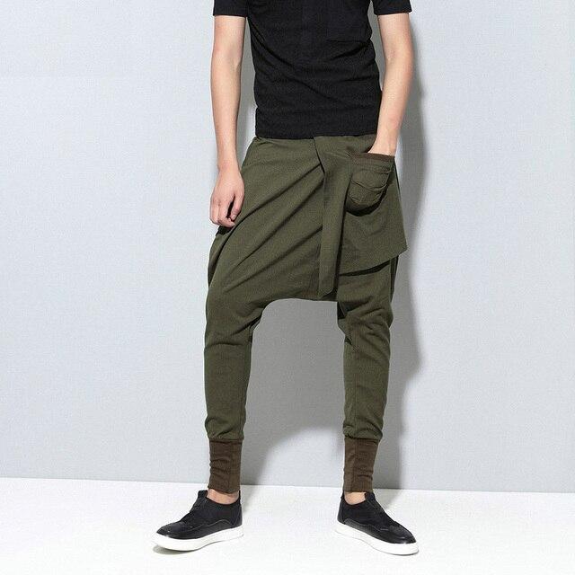 Moomphya 2017 new hip hop dance Baggy jogger pants elastic waist fashion multilayered draped street wear Cross pants Harem pants 3