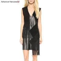 Women Summer Dress V Neck Sleeveless PU Splicing Fashion Black Tassel Dress Woman Clothes Slim Casual