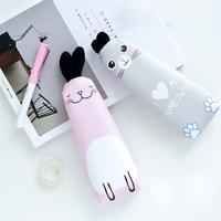 1 Pcs Kawaii Long Ears Rabbit Cute Cat PU Capacity Pencil Case Stationery Storage Organizer Bag