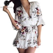 Lily Rosie Girl Deep V Neck White Floral Print Women Jumpsuit Boho Summer Short Rompers Ruffles Sexy Sashes Playsuit Overall(China)