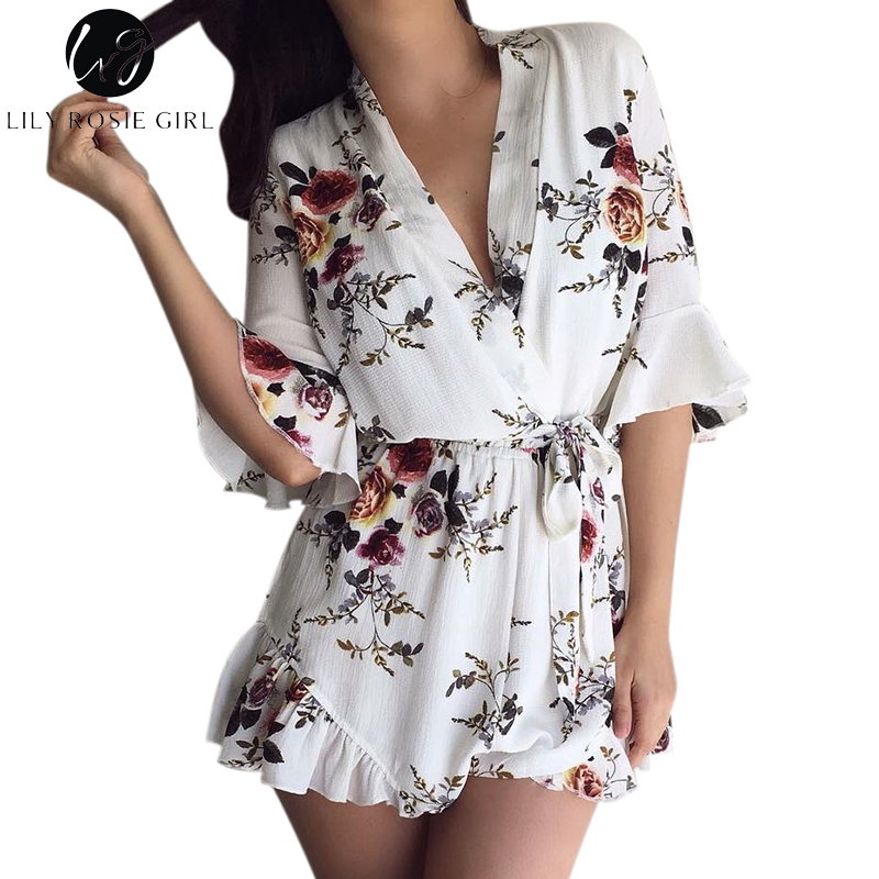 Lily Rosie Girl Deep V Neck White Floral Print Women   Jumpsuit   Boho Summer Short Rompers Ruffles Sexy Sashes Playsuit Overall