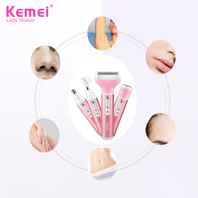 Kemei Female Epilator Multifunction 4 In 1 Hair Removal Women Electric Shaver Rechargeable Nose Eyebrow Hair Clippers D43 1