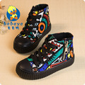 2017 весна Высота вырезать детей холст shoes мальчики Граффити lace-up shoes девушки принцесса повседневная shoes