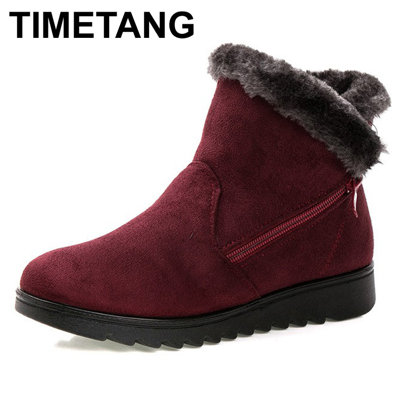 TIMETANG women winter shoes women's ankle boots the new 3 color fashion casual fashion flat warm woman snow boots free shipping