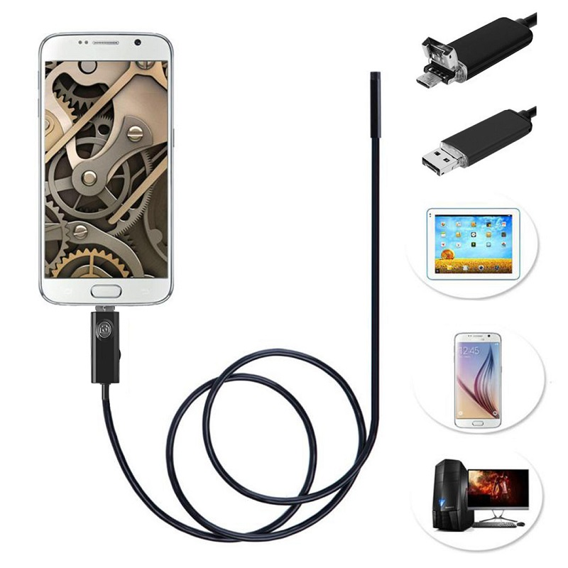 2017 Micro 2IN1 5.5mm lens Usb Endoscope Android Camera 1m 2m 5m 1.5m 3.5m Mini Pipe Snack USB Inspection OTG Borescope Camera 7mm lens mini usb android endoscope camera waterproof snake tube 2m inspection micro usb borescope android phone endoskop camera