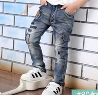 2017 mùa thu Jeans Đối Với Bé Trai Đàn Hồi Eo của Cậu Bé Quần Giản Dị phong cách 10 11 12 13 14 Năm Tuổi Trẻ Denim quần áo
