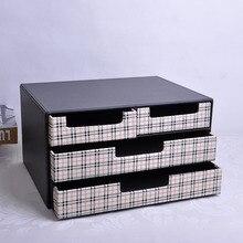 3 уровня 4-ящик деревянный структура кожи стол подачи ящик для хранения Кабинета министров Организатор документ контейнер черный + белый 216C