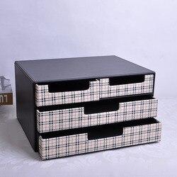 3-warstwa 4-szuflady struktura drewna Skórzane biurko szafka na dokumenty pudełko do przechowywania biurowe dokument organizator pojemnik czarny + biały 216C