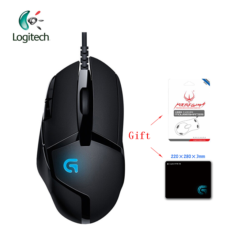 Logitech G402 Hyperion Fury Gaming Wired Mouse with Optical 4000DPI High Speed for PC Laptop Support Official Test + Free Gift logitech g403 prodigy wireless gaming mouse with high performance gaming sensor